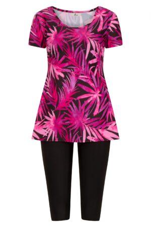 Short Sleeeve Pink Swim Dress with Black Swimming Leggings