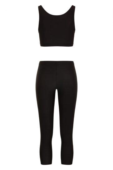 Black Swimming Leggings with Black Crop Top