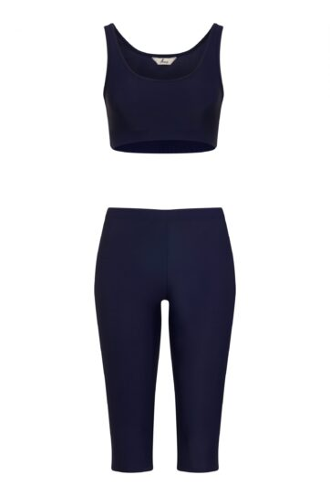 Blue Swimming Leggings with Blue Crop Top