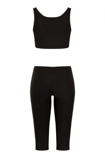 Black Swimming Leggings with Black Crop Top