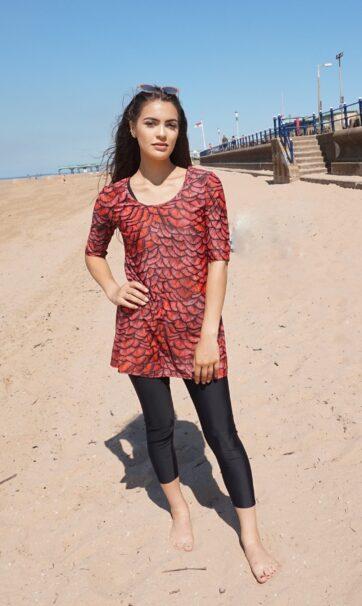 Long Sleeve Red Swim Dress with Black Swimming Leggings