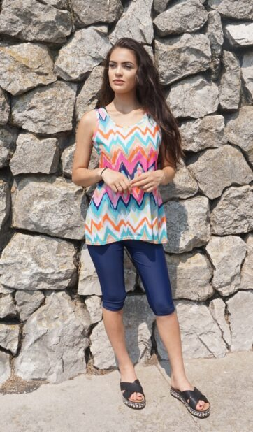Sleeveless Ikat Swim Dress with Blue Swimming Leggings