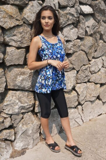 Sleeveless Blue Swim Dress with Black Swimming Leggings